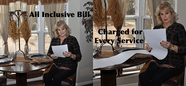 A woman smiling at an all-inclusive bill versus a bill with multiple add-ons