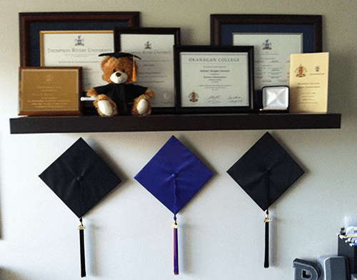 Dog Trainer's framed diplomas