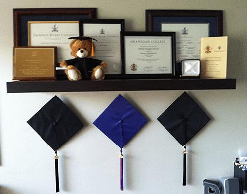 Dog Trainer's framed diplomas